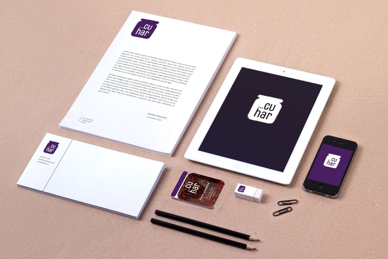 cuhar stationary branding by inoveo