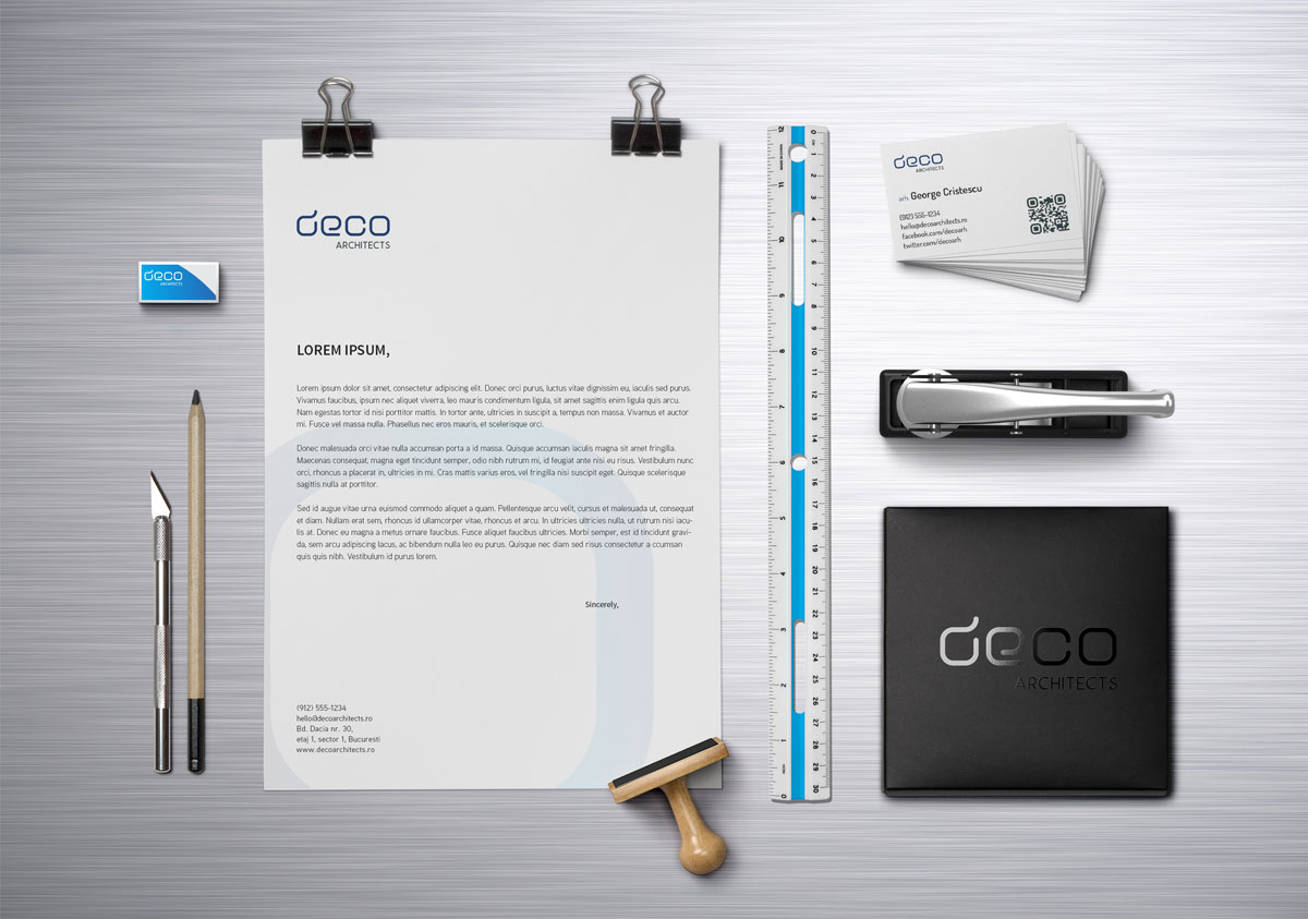 deco architects rebranding stationary