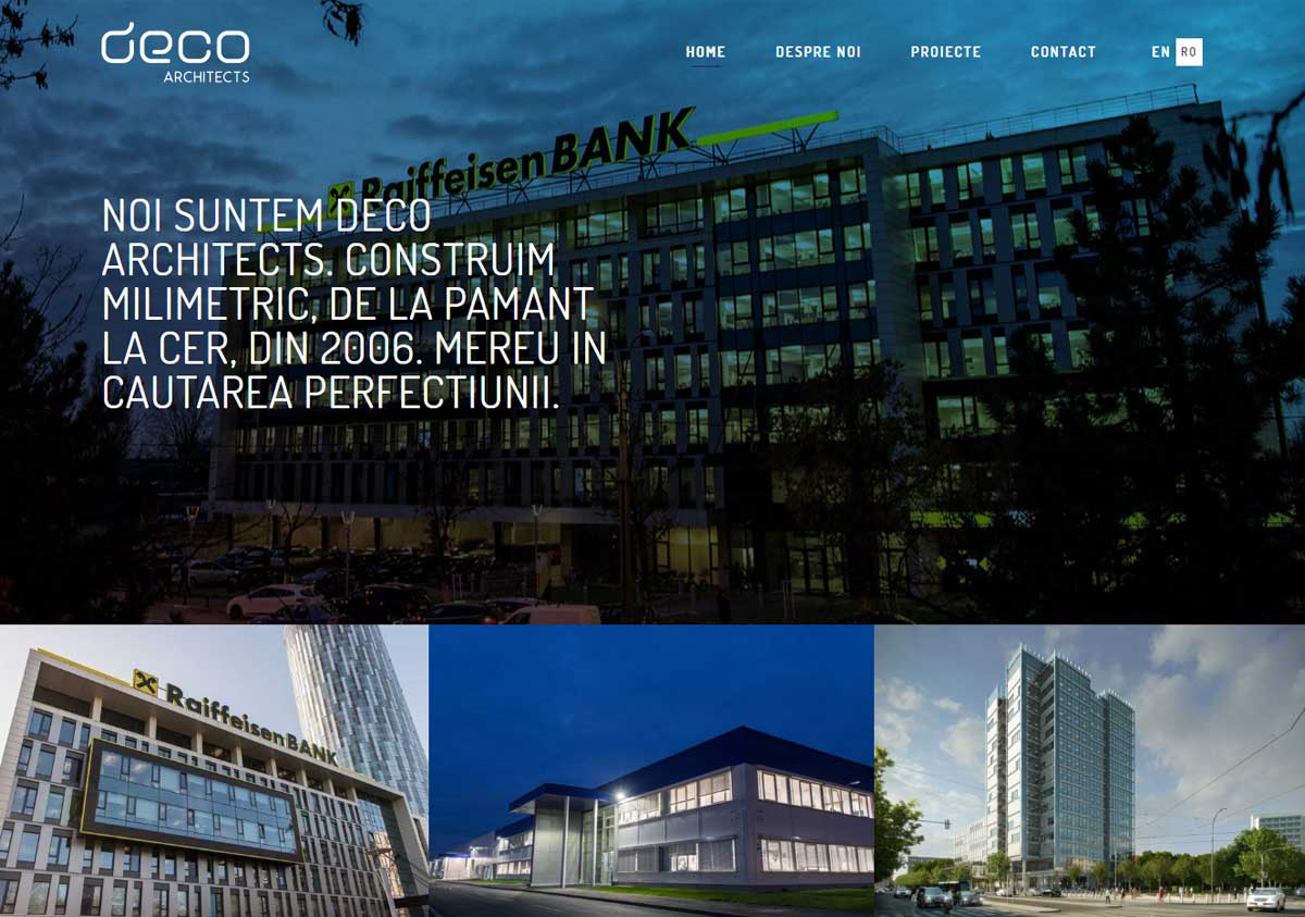 deco architects website rebranding