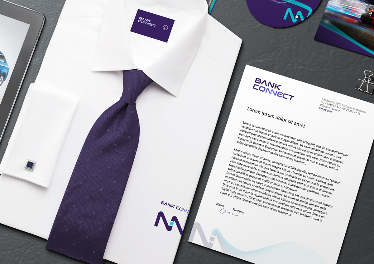 bank connect stationary branding