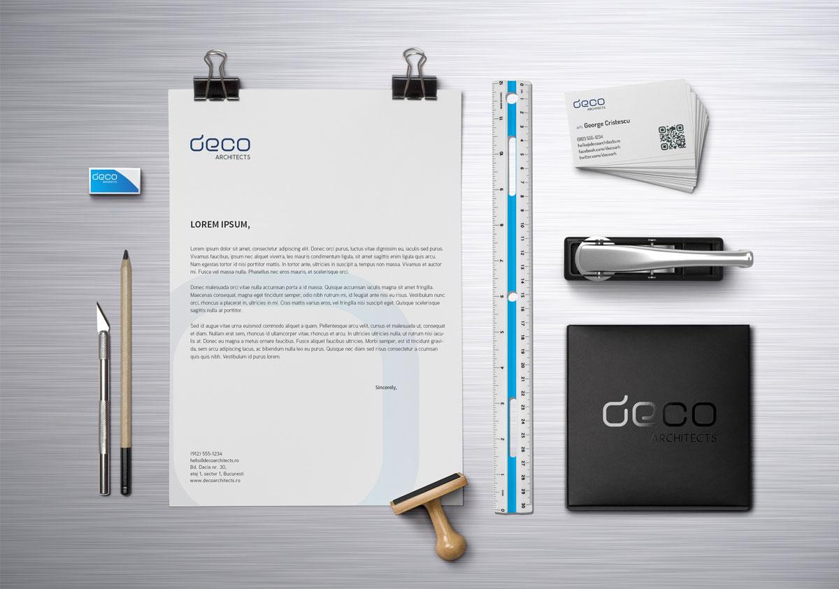 deco architects portofoliu rebranding papetarie