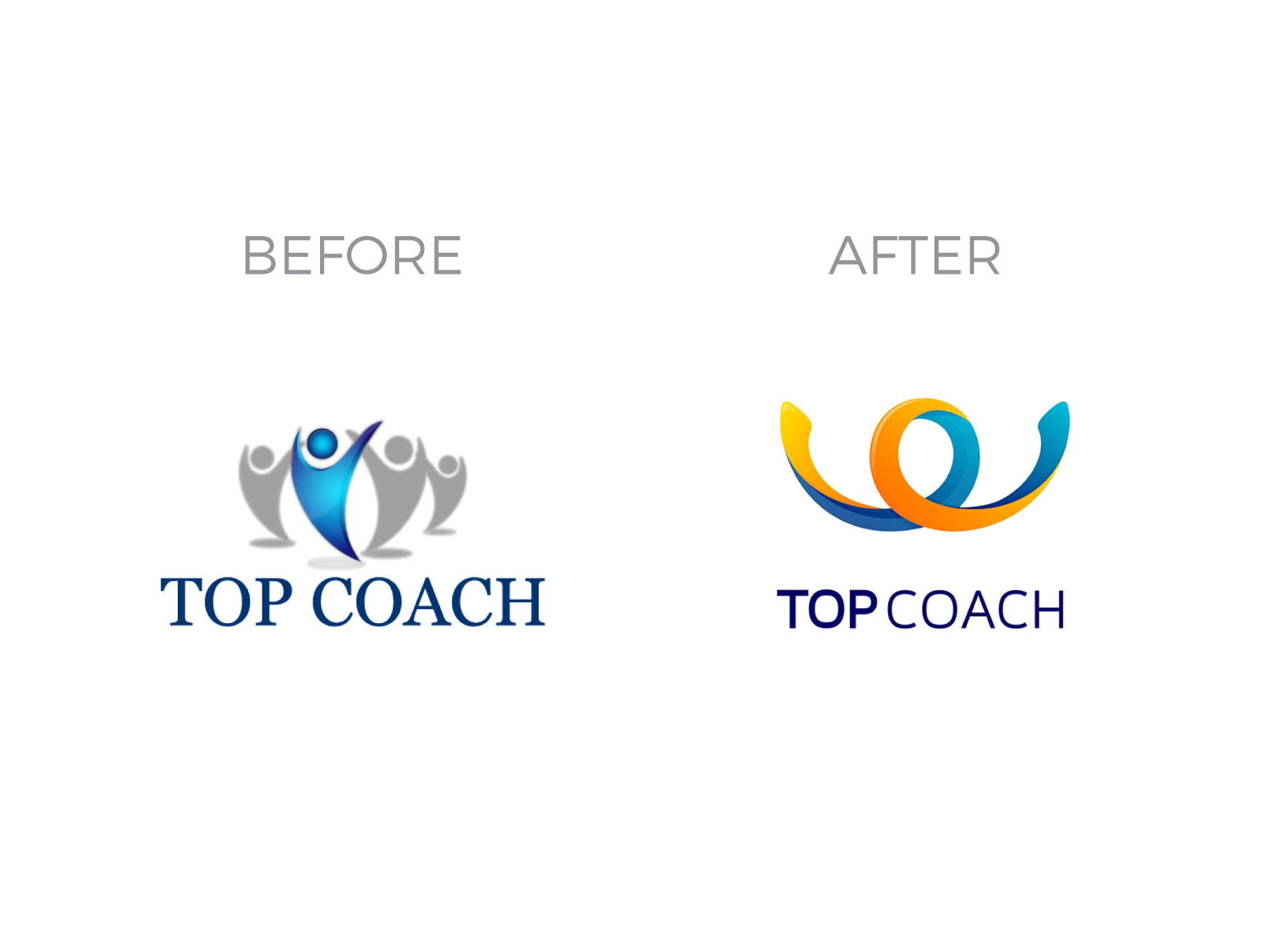 Top Coach portfolio inoveo logo before and after rebranding