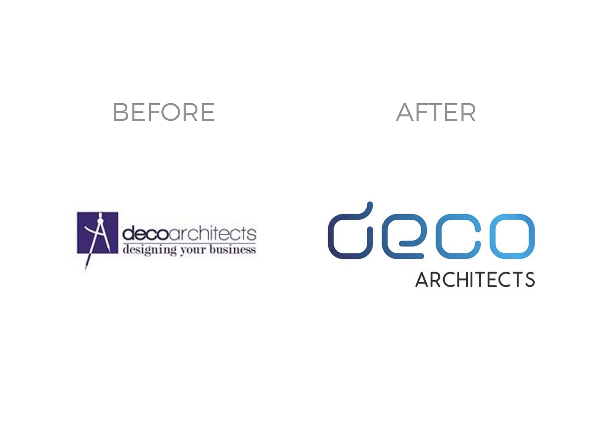 deco architects rebranding logo before and after