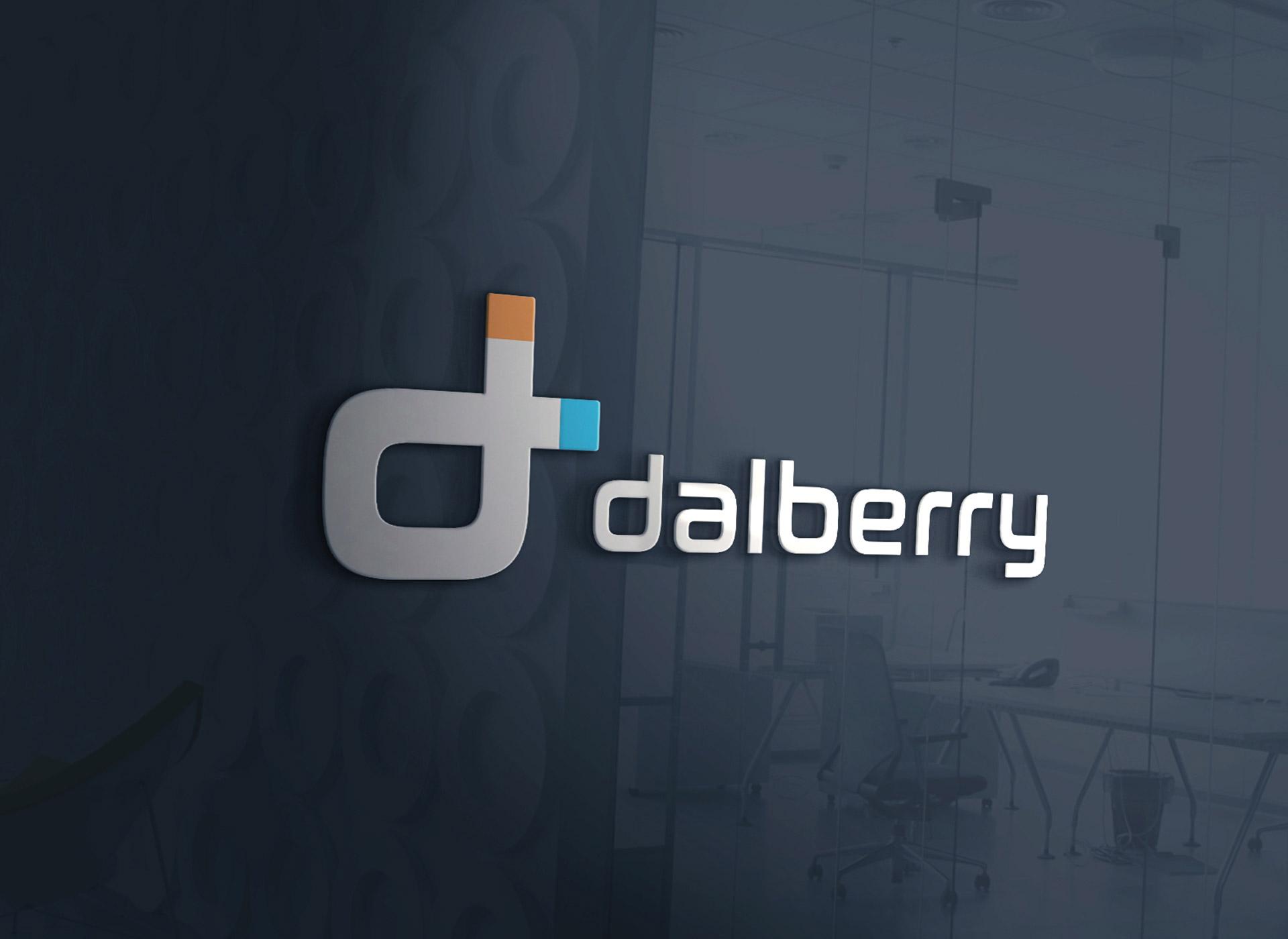 branding inovativ logo dalberry negru perete