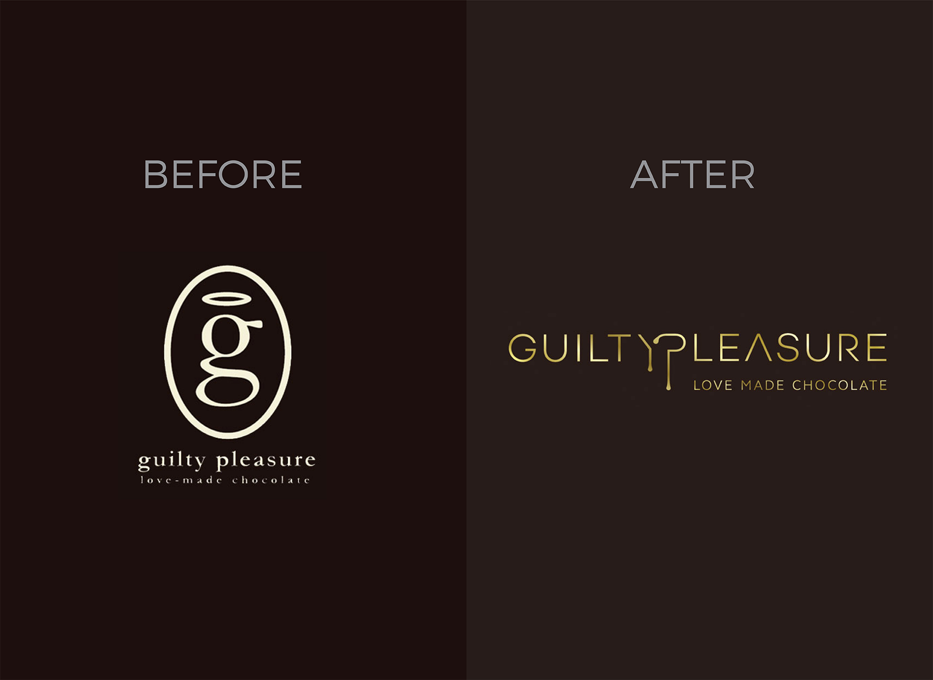 guilty pleasure architects rebranding logo before and after