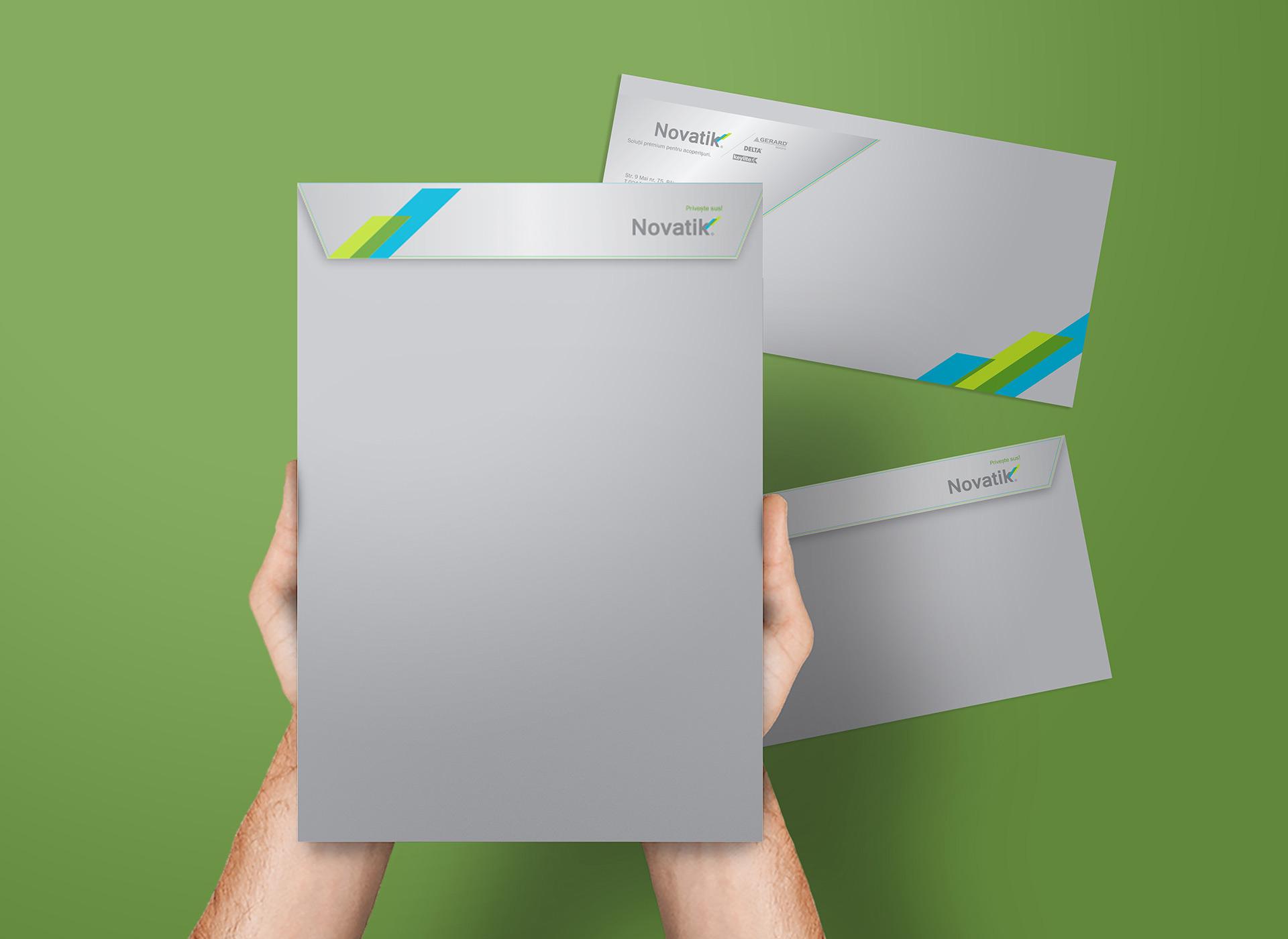 novatik portofoliu branding envelope