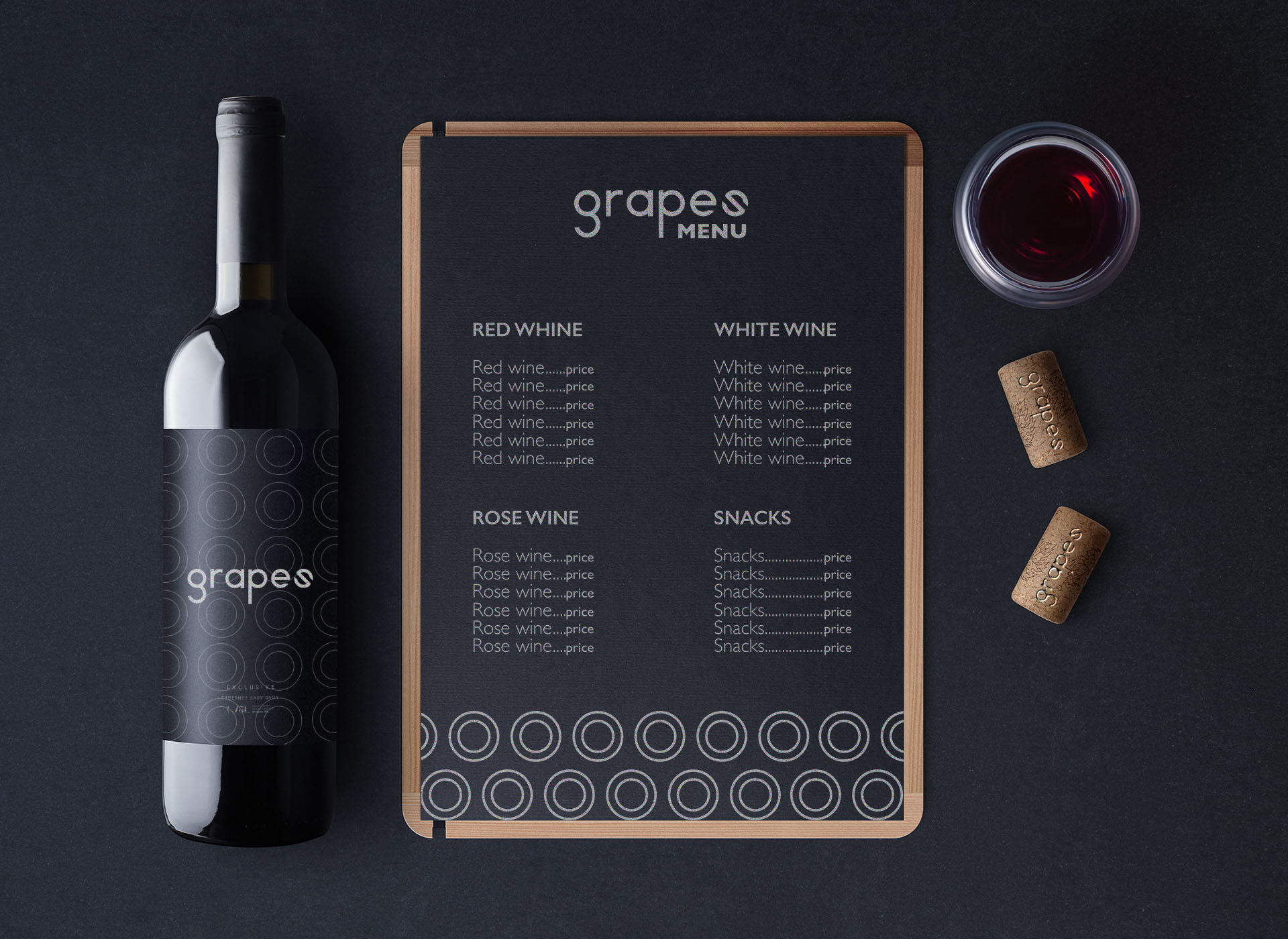 Grapes wine bar portfolio inoveo menu and wine bottles